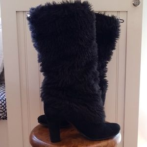Sam Edelman Shalin Black Faux Fur Boots